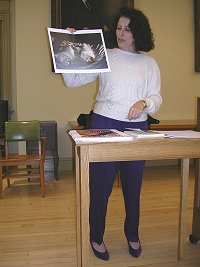Lesléa Newman presenting to students